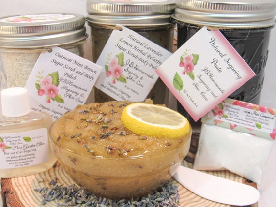 Sugaring Paste & Natural Herbal Lavender Sugar Scrub Deluxe Bundle