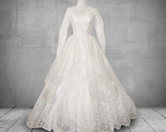 1950s Wedding Dress with Sleeves Lace and Tulle Bridal Gown
