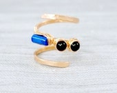 Lapis Lazuli and Black Obsidian Gemstone Hammered Copper Wrap Around Ring, size 6 / Copper Gemstone Ring /Boho Wrap Ring /Gemstone Wrap Ring