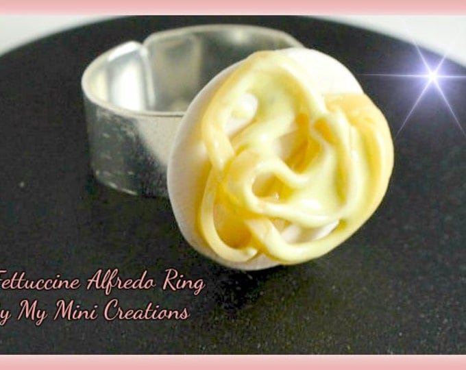 Fettuccine Alfredo Ring, Miniature food, miniature food jewelry, food jewelry
