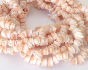 "Natural shell beads, whole shell beads, frog shells 16"" strand"