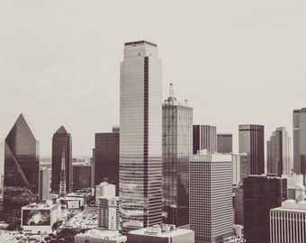 Dallas Texas, Skyline, Downtown Buildings, Black and White Picture, Architecture, Dallas Skyline, TX Building, Photography, Home Decor