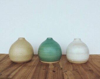 stoneware mixed color bud vases set of three