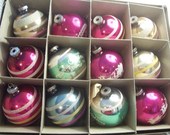 Twelve Assorted  Jumbo Shiny Brite Christmas Ornaments