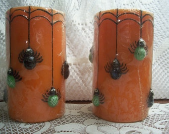 Two Spider Halloween Candles