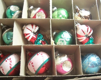 Twelve Assorted Shiny Brite, USA, West Germany Christmas Ornaments