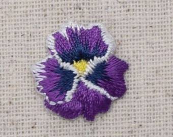 Pansy Flower - Small/Mini - Violet - Iron on Applique - Embroidered Patch - 691860-A