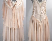 Vintage 1980s Peignoir set 2 pc Flora Nikrooz pink night gown and jacket size small