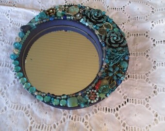 Round Wall Mirror Embellished Jeweled Turquoise, Jewelry Embellished Mirror