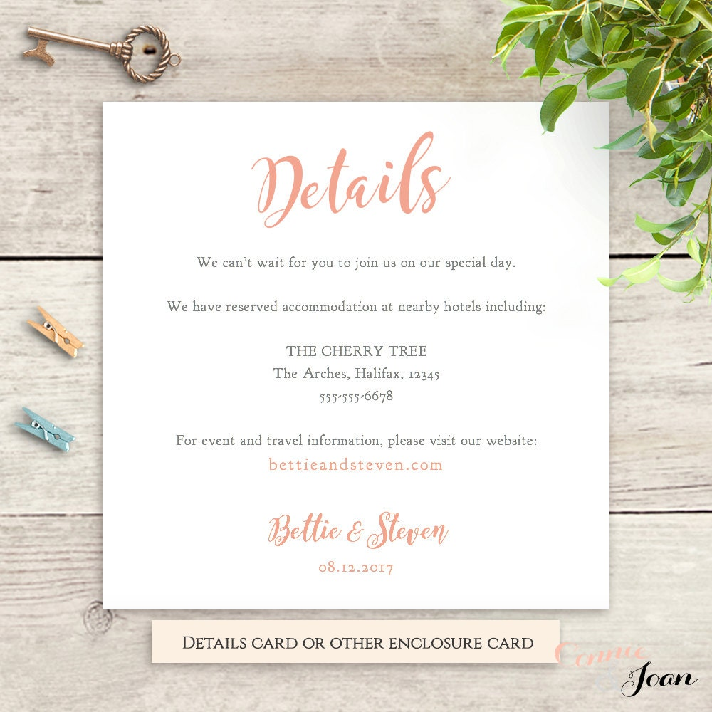wedding details information card template printable