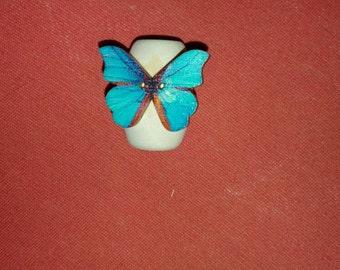 Blue butterfly dreadlock bead wood