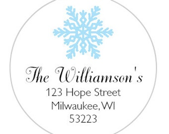 24 Snowflake Circle Return Address Label, Circle Return Address Label, Snowflake Address Label, Christmas Address Label, Holiday Label