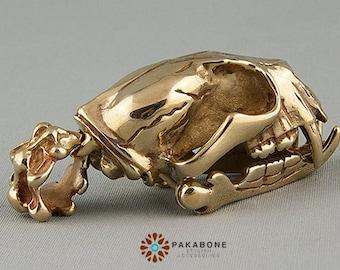 Bear Skull Pendant Amulet Solid Bronze 000-736