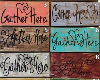 Rustic Gather Here sign,  Gather sign, photo prop, Dinning Room sign, rustic family room sign, pallet board home decor, cottage chic decor