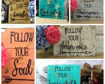Follow Your pallet wall decor,  wall hanging, Boho home decor, Arrow art, rustic wall art,  pallet board art, pallet board signs