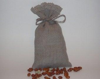 """15 pcs Linen Favor Bags with Linen Lace * Linen Gift Bags * Linen Pouches * Size 4.7"""" x 6"""" (12cm x 15cm)"""