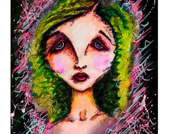Victorian Girl, Victorian Art, Painting, gothic art, art print, horror, girl, mixed media art