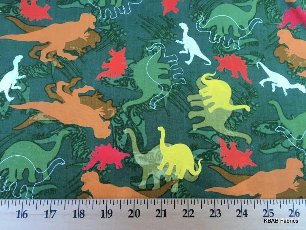 Dinosaur fabric by the half yard dino fabric t rex by for Dinosaur fabric
