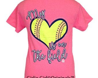 Girlie Girl Originals My Heart Softball Safety Pink Short Sleeve Unisex Fit T-Shirt
