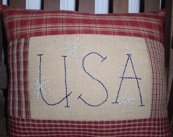 "Americana USA Fireworks Stitchery Homespun Pieced Panel Pillow 9"" x 11"" Patriotic Pillow USA Stitchery Pillow"