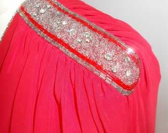 Vintage red dress 80s Parigi Dress v neck chiffon with beaded detailing size medium