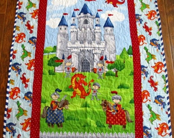 """So Cute *Castle for Knights and Dragons"""" 40""""x43"""" Quilt Baby Crib Nursery Bedding Toddler Blanket Stippling Quilted Napping Blanket"""
