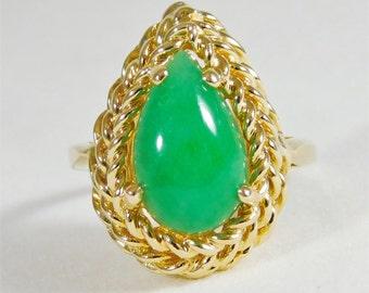 14k Gold Jade Ring
