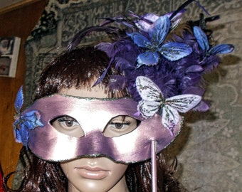Purple Butterfly and Feathered Mask with Handle