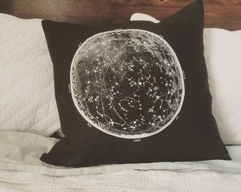 vintage constellation lithograph screenprinted pillow - includes down insert