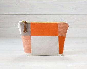 Orange Geometric, Retro Fabric, Cosmetics Bag, Toiletries Bag, Makeup Bag