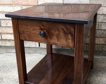 Solid Walnut Farmhouse Side Table