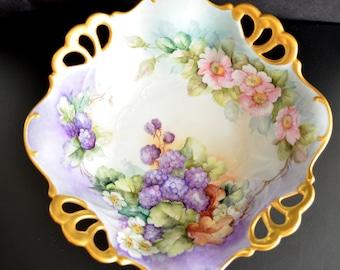 Antique French Porcelain Limoges Bowl Rare Artist Signed Stoner Elizabeth Square Footed Hand Painted Grape Hyacinth Apple Blossoms