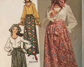 Simplicity 9112 vintage 1970's misses blouse, skirt, scarf & sash sewing pattern size 12 bust 34 waist 25.5