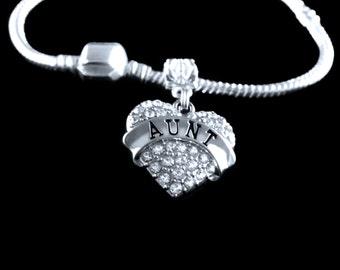 Aunt Bracelet  Aunt charm bracelet  Aunt jewelry  Aunt Gift  Best Aunt gift   European style aunt bracelet