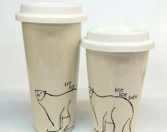 Travel version Polar Bear ice ice baby silly ceramic pottery mug