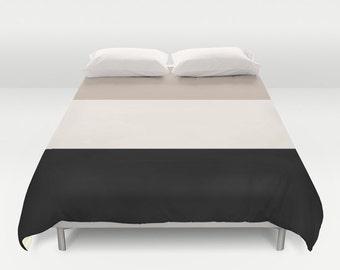 Tan and Black Duvet Cover Neutral duvet covers classic bedding beige bedding beige bedroom decor girls bedding king queen full duvet covers