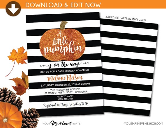 Little Pumpkin Baby Shower Invitation • Fall Autumn A Little Pumpkin Is On The Way Baby Shower Invite • DIY Edit Yourself BS-F-02