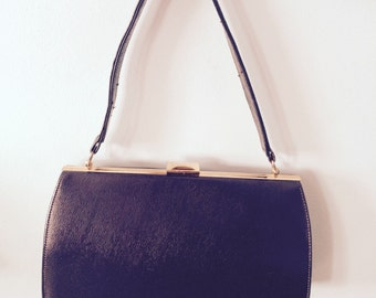 VINTAGE Chocolate Brown LEATHER Kelly Handbag - Bagcraft of London -  50s