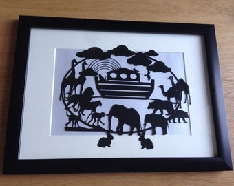 Noah's Ark - Framed hand cut paper art