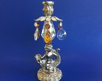 """10"""" Silver Cherub and Amber Crystal Candleholder Vintage"""