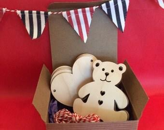 Wooden Bunting - Teddy Bear & Heart