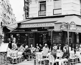 Paris Cafe Art, Paris Cafe Print, Cafe Photograph, Paris Photography, Paris Home Decor, Large Black and White Print, French Cafe Photograph