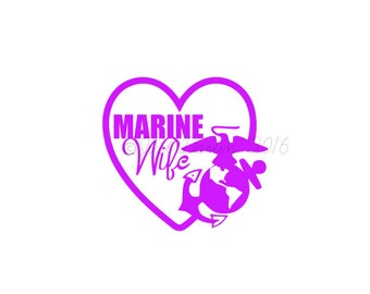 Marine Wife Decal - Marine Decal - EGA Decal - Laptop Decal - USA Decal - Eagle Globe Anchor - Armed Forces Decal - I Love My Marine