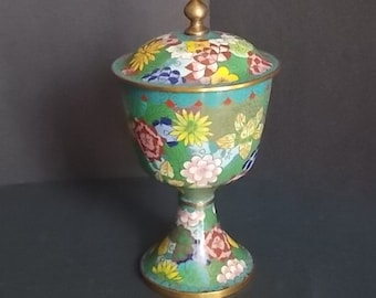 Beautiful Chinese Covered Cloisonne Chalice FREE SHIPPING