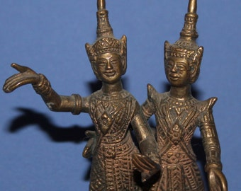 Vintage Hand Made Brass Ashtray Hindu Deity With Dancers Figurines