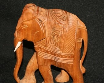 Antique Asian Indian Hand Carved Wood Elephant Figurine
