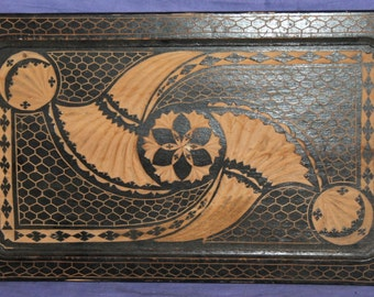 Vintage Hand Carving Floral Motive Wood Serving Tray