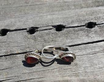 ON SALE Sterling Silver Garnet Lever Back Earrings