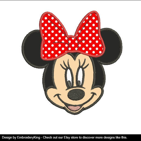 Minnie mouse head applique embroidery machine design