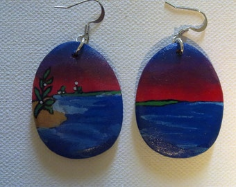 Painted scene Wood Earrings --red sky 2